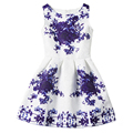 2016 Kids Dresses For Girls Children Sleeveless Summer Dress Teenagers Party Princess Dress Baby Girl Flower Print Dress Vestido