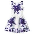 2016 Niños Vestidos Para Niñas Niños ropa de Verano Sin Mangas Vestido de Partido Adolescentes Vestido de Princesa Niña Vestido Estampado de Flores Vestido