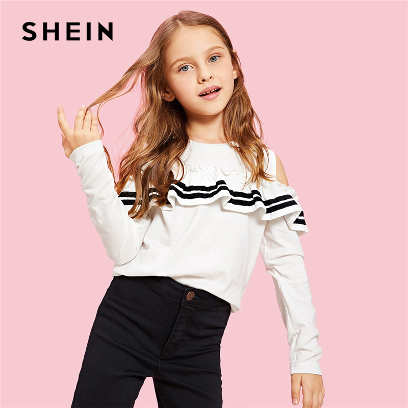 SHEIN Kiddie White Cold Shoulder Ruffle T Shirt For Girls Shirts 2019 Spring Korean Fashion Long Sleeve Tops Girls Kids Clothes basik kids long sleeve t shirt white