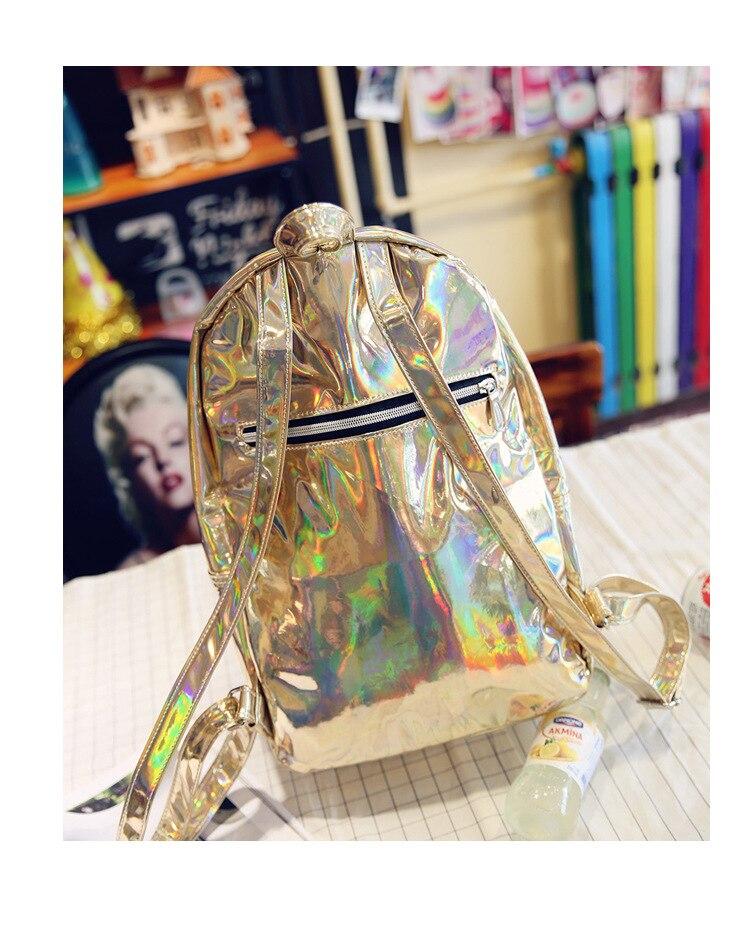 Backpacks Fashion Hologram Backpack Women Holographic Transparent Backpacks For Teenagers Sac A Dos School Bags Mens Travel Rucksack