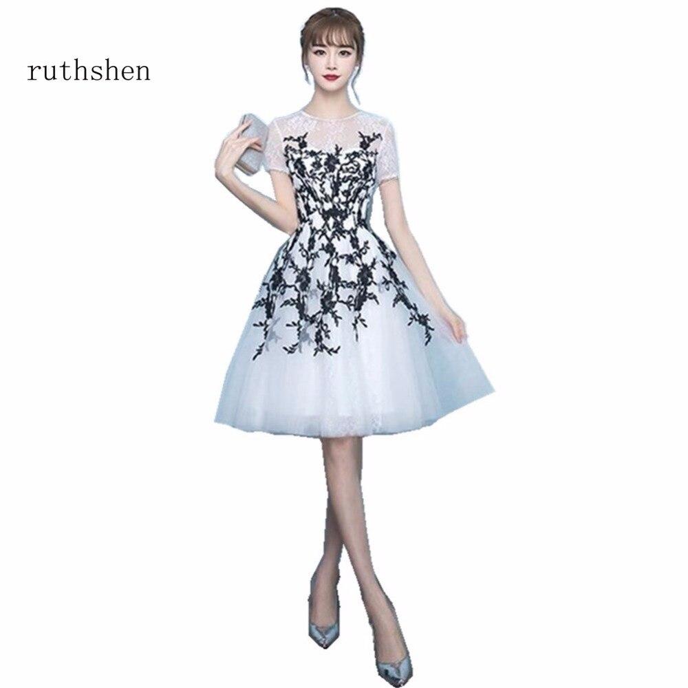 ruthshen Graceful Scoop Neck Short Sleeves Lace   Cocktail     Dresses   2018 Fashion Appliques Graduation   Dresses   Short Prom Party Gown