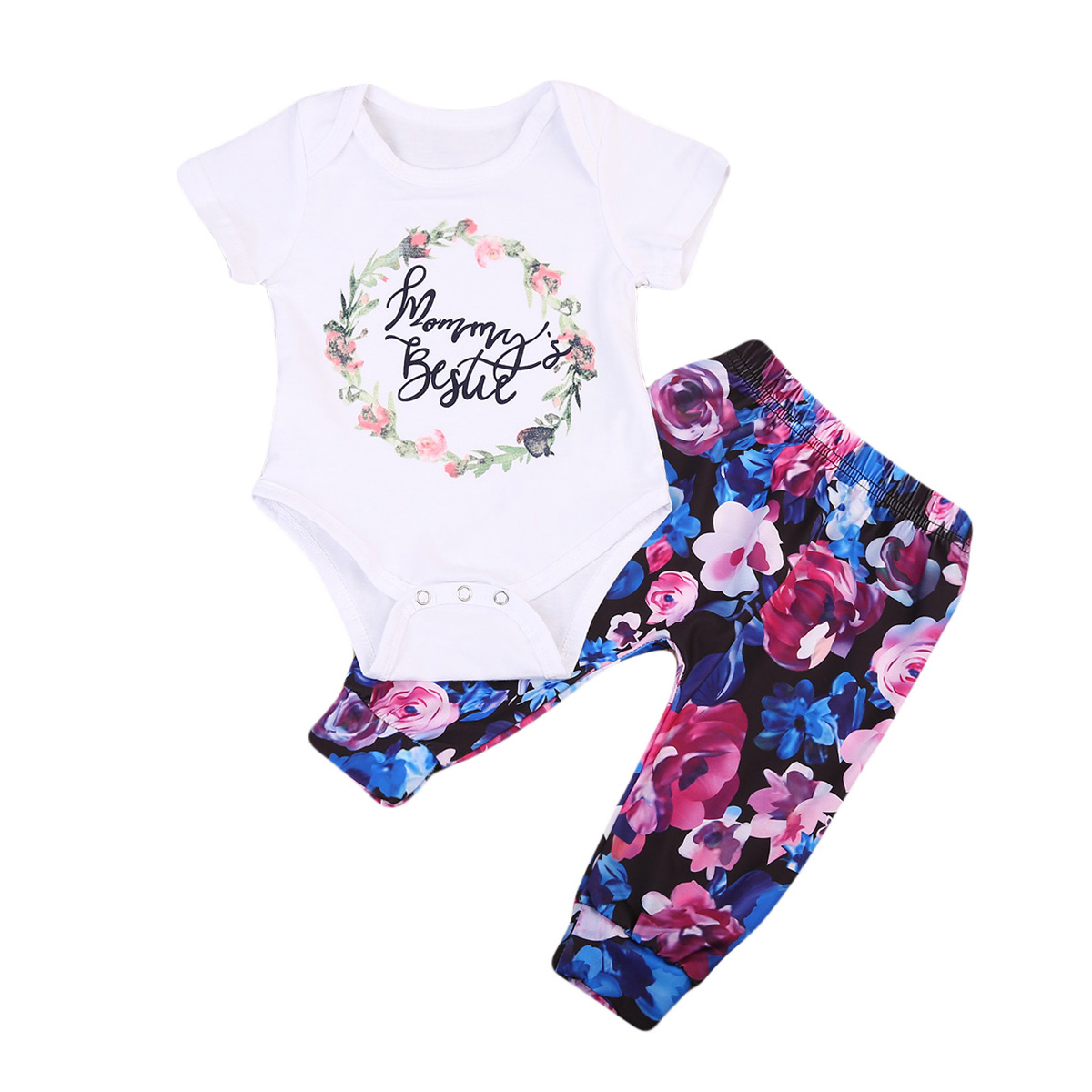 Newborn Toddler Baby Girls Clothes Short Sleeve Printed Romper Jumpsuit Bodysuit+Pants Outfits Set