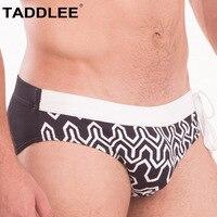 Taddlee Brand Men's Swimwear Swimsuits Sexy Swim Boxer Briefs Bikini Gay Penis Pouch 2019 New 3D Print Board Shorts Surf Trunks