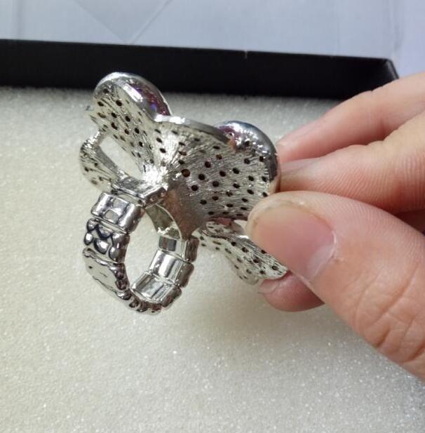 Moda pretirano velik srčni kristalni cvet elastičen prstni prstan - Modni nakit - Fotografija 6