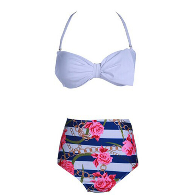 1c4031338c Sexy Floral Print High Waist Swimsuit 2017 Bikini Push Up Swimwear Women  Vintage Biquini Panties + Bowknot Bra Bathing Suit