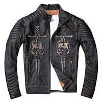 HARLEY DAMSON  Vintage Black Men Skulls Biker's Leather Jacket Stand Collar Genuine Cowhide Slim Fit Motorcycle Leather Coat