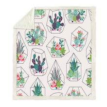 Sofa cushion Yoga mat Blanket Air Conditioner Thick Double-layer Plush 3D Digital Print Cactus
