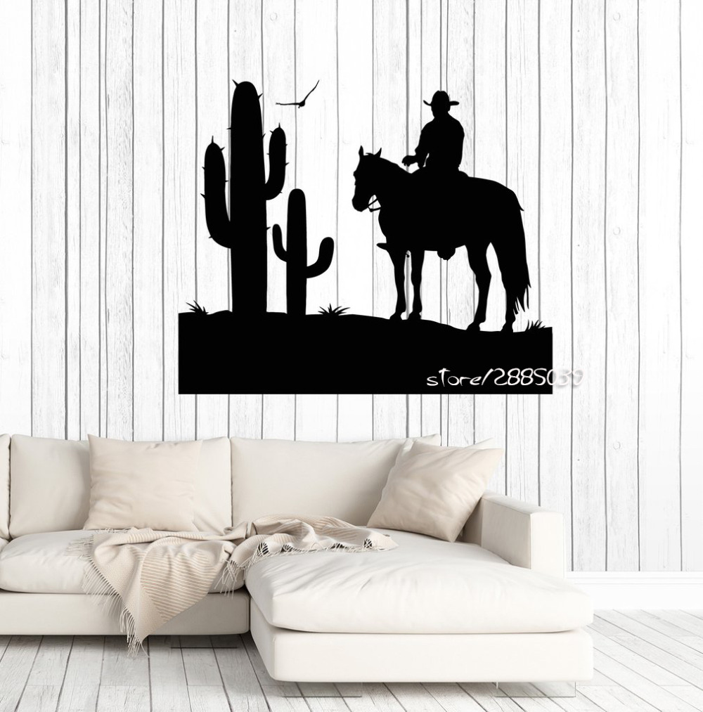 Cowboy Wild West Vinyl Wall Stickers Cactus Boy Room Sticker Decor ...