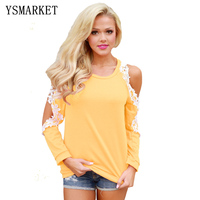 Women Lace Trim Cold Shoulder Tops Black Yellow Autumn Long Sleeve O Neck Tshirt Casual Hollow