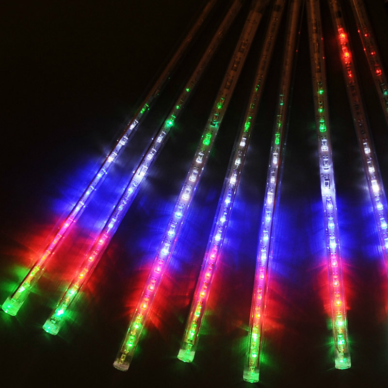 8PCS Hollow Garden Decoration Lights LED Bar Light Set Meteor Shower Rain Tubes EU Plug E2shopping CLH