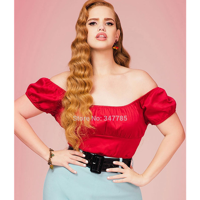 8f33d70c2fa 30- summer vintage 50s pinup peasant top off shoulder boat neck crop tops  cropped in red plus size women rock clothing t shirt