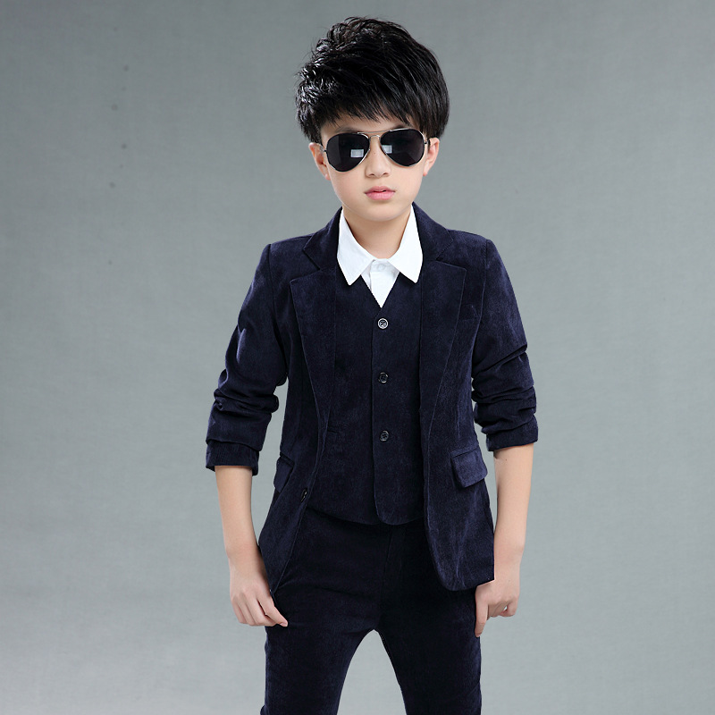 Blazer Jacket For Boys Fashionable Formal Wear Corduroy Cotton Turn-down Clothes