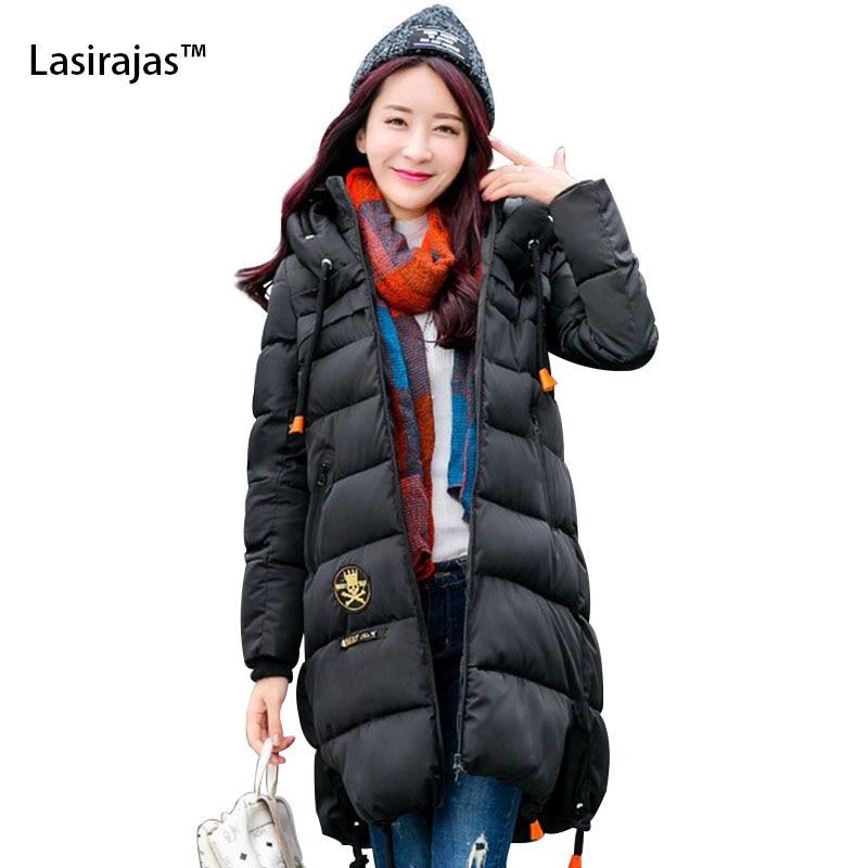 ФОТО 2016 New Fashion Women Winter Coats Zipper Long Section Cotton jacket Skull Embroidery Long Sleeve overcoat