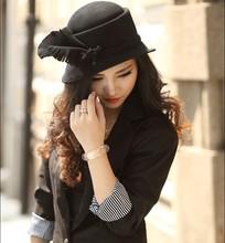 Free Shipping Winter Elegant Women's Bucket Short Brim Dome Leaf Shape Handmade Black Red Wool Dress Felt Hat