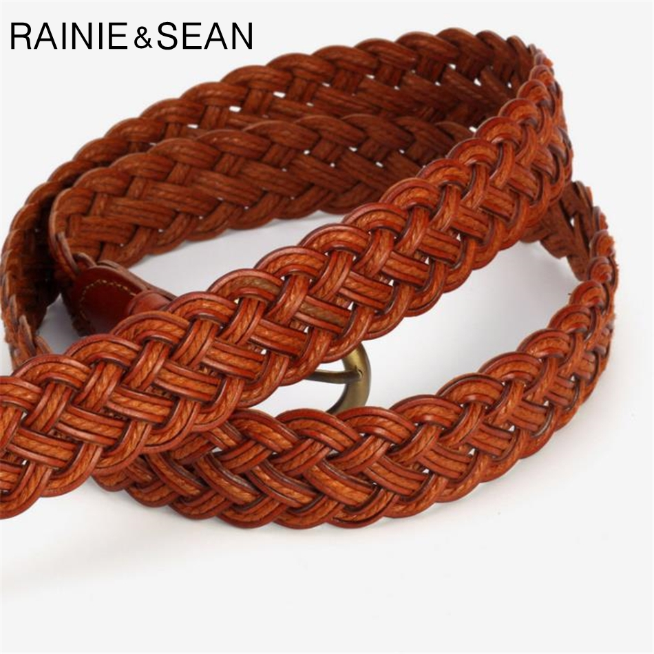 RAINIE SEAN Brown Wide Braided Belt Belts For Women Casual Bohemian Waist Belt Circle Buckle Accessories Belts For Trousers in Women 39 s Belts from Apparel Accessories