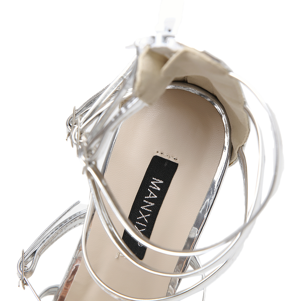 ManXiXi Gladiator Summer Style women s sexy high heels Sandals Buckle Strap  Narrow Band shoes woman US5 9 Black Silver Champagne-in High Heels from  Shoes on ... 35f0abb9406c