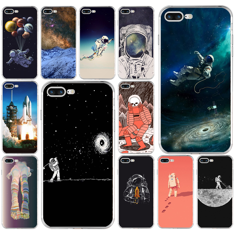 221aq Astronaut Space Moon Soft Tpu Silicone Cover Case For Apple Iphone 6 6s 7 8 Plus Case Novel Design; In