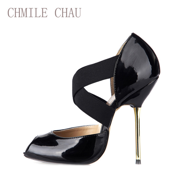 CHMILE CHAU Black Sexy Dress Party Shoes Women Peep Toe Stiletto Metal High Heels Cross-Strap Ladies Pumps Zapatos Mujer 3845-d2
