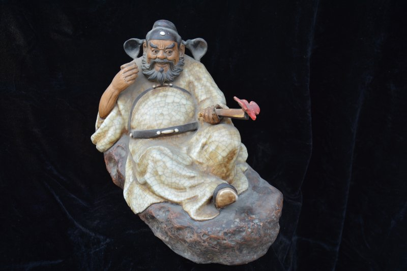 Rare Old Chinese Shi Wan Kiln porcelain statue /sculpture,Old Man Funny Bats,Home Decoration,crafts/Collection,Free shipping