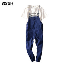 2018 Men's Summer Nine-piece Jumper pants Student Bib Ladies Casual Tooling Sling Overalls Color Camouflage / Khaki/ Royal blue