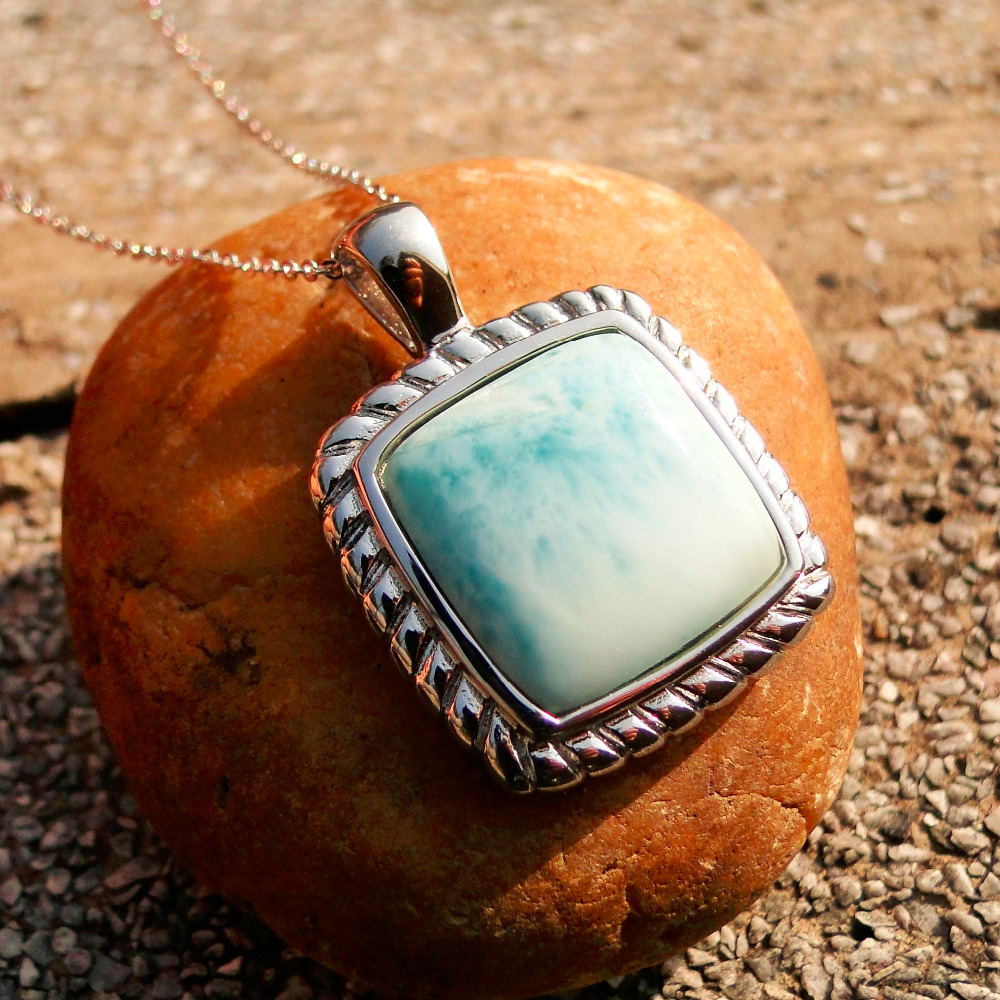 DJ CH Fine 925 Sterling Silver Square Larimar Pendant Jewelry Blue Gemstone Handmade Natural Larimar Jewellery chauvet dj ch 31 portable trussing