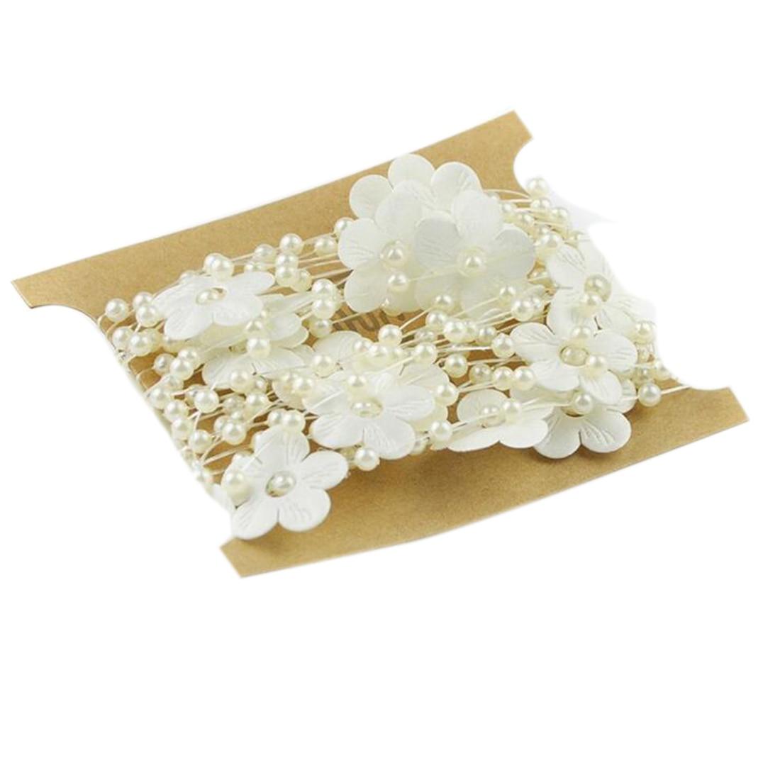 5 м белый бежевый цветок Форма леска искусственный жемчуг бусины цепи для гирлянды Цветы DIY Свадебная вечеринка украшения