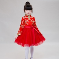 2017 New Arrival Chinese Style Traditional Girls Winter Spring Dress Printing Cheongsam Baby Princess Dresses Costume
