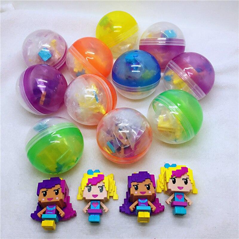 10pc/lot 50mm Diameter Plastic Color Balls Capsules Toys With Inside Mini Dolls Toys Randomly Mix For Vending Machine