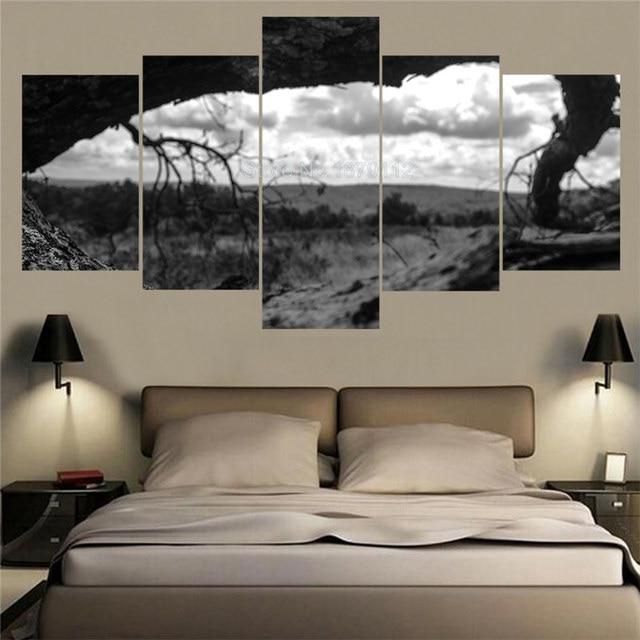 € 6.59 46% de réduction|Décoration de La Maison moderne Noir Et Blanc  Naturel Paysage Arbre Mort Paysage Peintures 5 Panneaux D\'art de Mur Pour  La ...