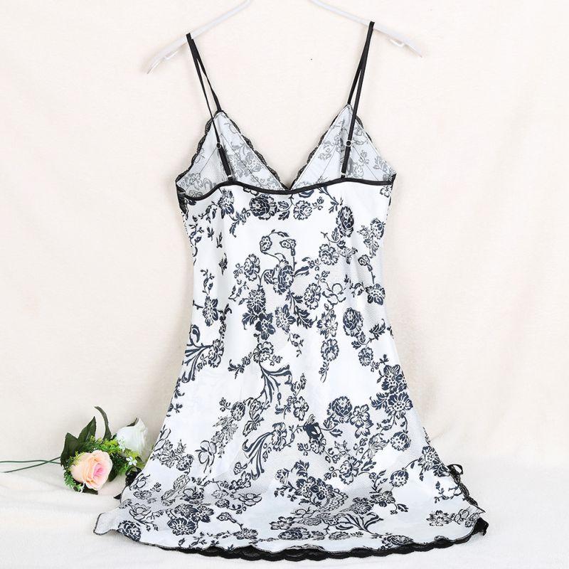 Women 2018 Summer Ladies Nighties Sexy Print Floral Silk Satin Night Dress Sleeveless V-neck Nightgown Lace Sleepwear