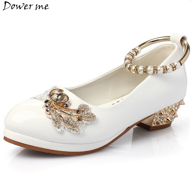 Spring Autumn Girls Pearl Shoe Diamond Little High Heels Wedding Shoes Summer Princess Leather Shoes Children Party Shoes