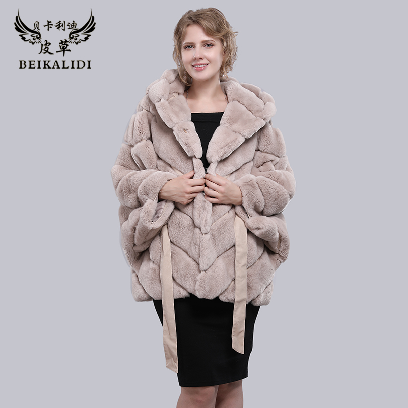 BEIKALIDI Для женщин реального кролика рекс шуба Для женщин зимние платок женский натуральный мех Бат рукавами пальто Для женщин пальто с капюш...