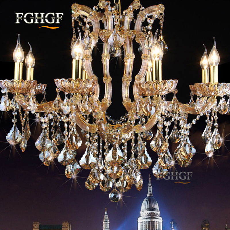 Luxury Maria Theresa Cognac Crystal Chandelier Light LED Crystal Lustre Light for Living Room Foyer Restaurant Hotel Project