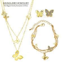Neoglory Стразы светильник желтого золота цвет свадебные наборы украшений с бабочкой для женщин Свадебные подарки на день рождения Новинка JS6 G1