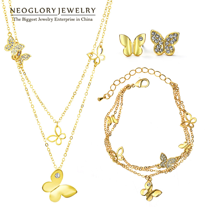Neoglory Rhinestone Light Yellow Gold Color Wedding Butterfly Jewelry Sets for Women Bridal Birthday Gifts 2017 New JS6 G1