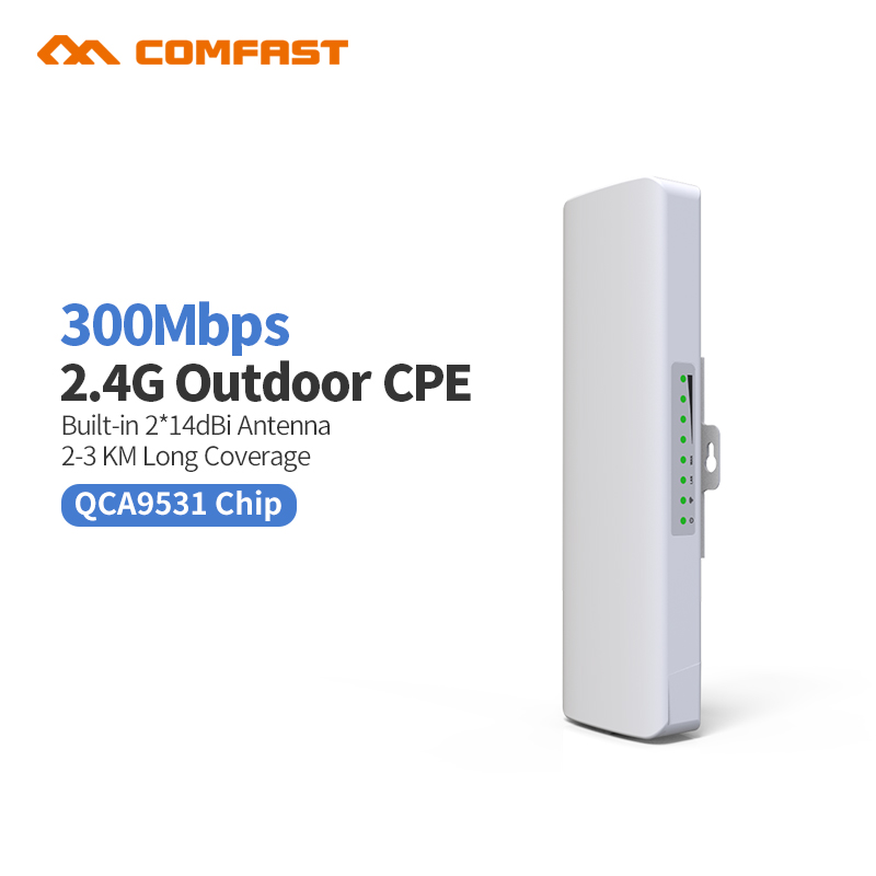 3KM 2.4GHz 300Mbps Outdoor CPE Wireless WiFi Repeater Extender Router AP Access Point Wi-Fi Bridge 48V POE Adapter Amplifier outdoor cpe 5 8g wifi router 200mw 1 3km 300mbps wireless access point cpe wifi router with 48v poe adapter wifi bridge cf e312a