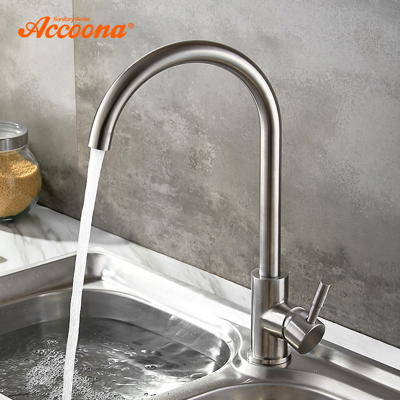 Accoona 304 Stainless steel Drinking Water Filter Kitchen Faucet Tap for Kitchen Sink Faucets 360 Hot and Cold Water A4590 цена