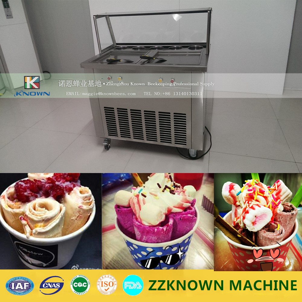 Free ship 220V R22 double square pan fried ice cream machine 1600w fry ice cream roll machine with glass cover free milk roll 2016 new double round pan fry ice cream roll machine 45cm 2800w luxurious intelligent double pan milk roller with r410a