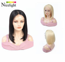 613 Bob Wig Straight Frontal Wig Blonde Lace Front Human Hair Wigs Short Bob Wigs Nicelight Peruvian Glueless Hair Lacefront Wig(China)