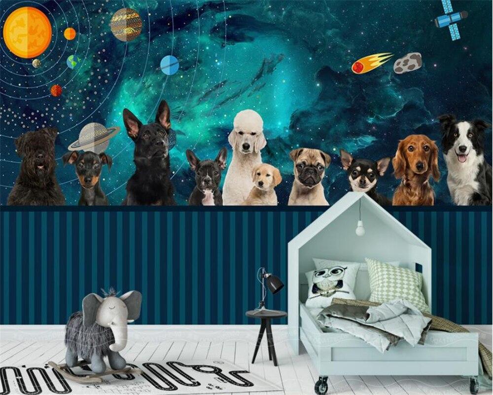 . US  9 3 38  OFF Beibehang Custom Wallpaper Living Room Bedroom Mural  Painting Handcrafted Space Universe Puppy Kids Room Background 3d  wallpaper in