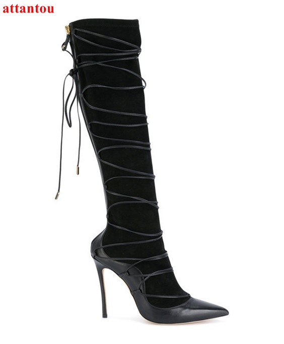 2018 Cross-tied Black Long Boots Autumn Winter Fashion Female Knee-high Boot Pointed Toe Thin Heel Patch Work Women Shoes