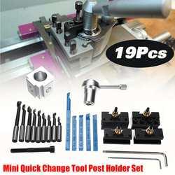 19 PCS Mini CNC Draaibank Gereedschaphouder Snelwisselbeitelhouder Houder Schroef Kit Set + 3/8 ''Boring Bar + indexeerbare 3/8 Houder Wrench