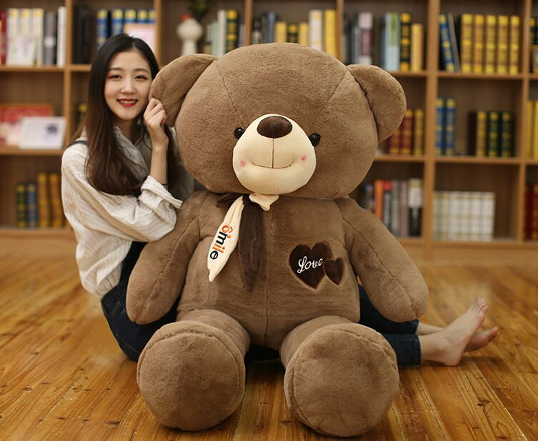 fillings toy huge 140cm love bear plush toy dark brown teddy bear soft doll hugging pillow Christmas gift b1987 stuffed toy lovely scarf teddy bear plush toy huge size 170cm dark brown bear hugging pillow surprised christmas gift h448