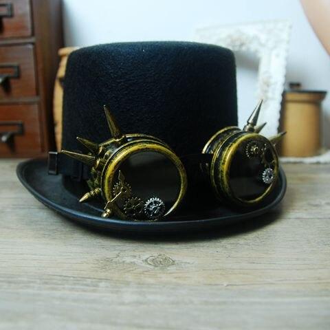 8616f4872c0a9 Chapéu Com Óculos de Cyber Steampunk Gótico do Vestido Extravagante Do Vintage  Retro Cosplay Chapéus Artesanais em Fedoras de Acessórios de vestuário no  ...