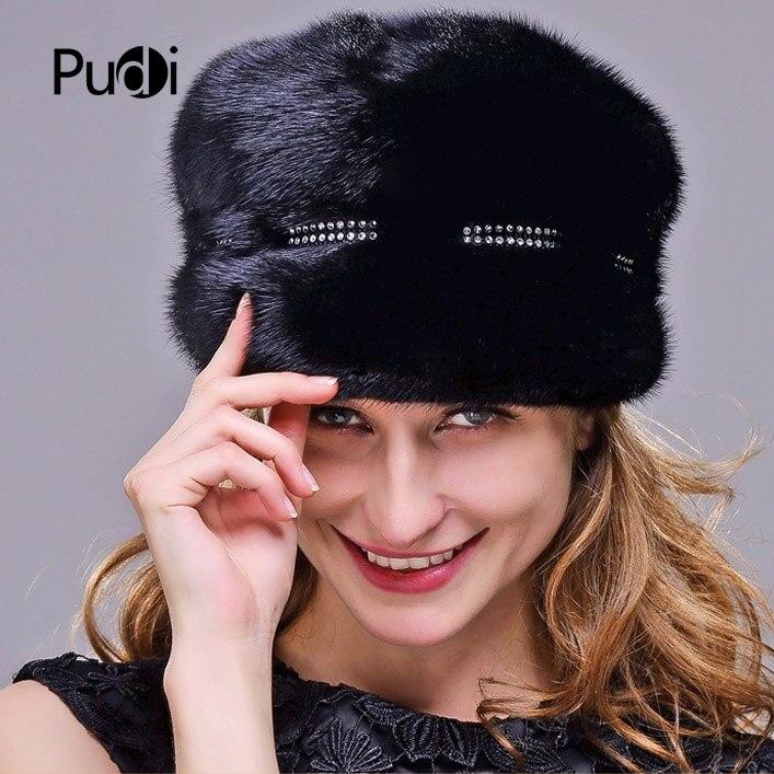HM017 Натуральная норки меховая шапка зимние шапки для женщин целый кусок норки шапки зимние Кепки