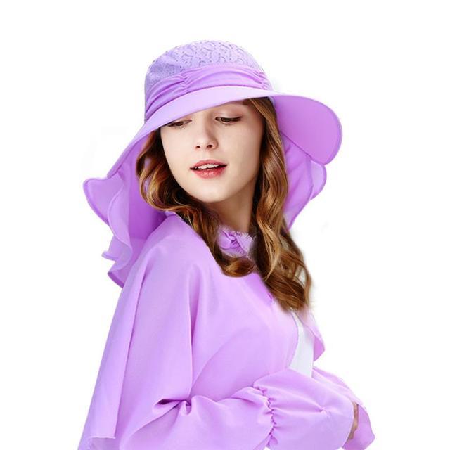42d2ea7e204 Vbiger 2 in 1 Women Stylish Sun Hat Foldable Summer Hat Floppy Sunproof Hat  Protective Wide