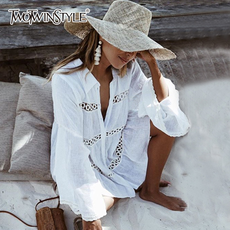 TWOTWINSTYLE Summer Dresses Female Hollow Out Sexy Beach Dress Shirt White Flared Sleeves Casual Blouse Korean Clothes 2019 New