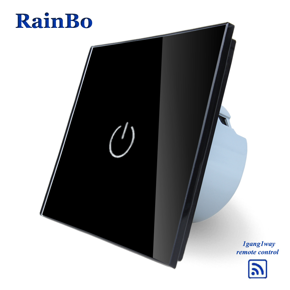 RainBo Crystal Glass Panel Smart Wireless Switch EU Wall Switch 110~250V Remote Touch Switch Screen Wall Light Switch 1gang1way saful 12v remote wireless touch switch 1 gang 1 way crystal glass switch touch screen wall switch for smart home light