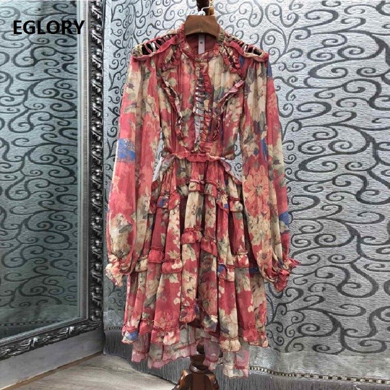 Évider Sexy Robe 2019 Style de Plage d'été Femmes Rouge Imprimé Floral Dos Nu Manches Longues décontracté Robe De Soirée Club Boho Vêtements De Plage