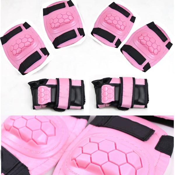 New Pink 6 ~ 9 Yrs Boys Girls Kids Child Skate Cycle Knee Set Elbow Wrist Safety Pad